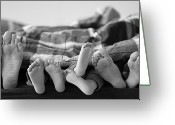 Indoors Photo Greeting Cards - Eight Human Feet Greeting Card by Christian Gstöttmayr