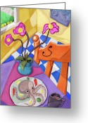 Cubist Greeting Cards - Eight Leg Dinner Greeting Card by David Kyte