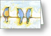 Bluebird Greeting Cards - Eight Little Bluebirds Greeting Card by Jennifer Lommers