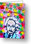 Sit-ins Greeting Cards - Einstein IMAGINATION Greeting Card by Tony B Conscious