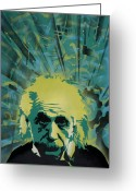 Spraypaint Greeting Cards - Einstein Greeting Card by Iosua Tai Taeoalii