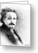 Albert Drawings Greeting Cards - Einstein Greeting Card by Wayne Pascall