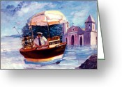 Retratos Greeting Cards - El Aventurero Greeting Card by Estela Robles