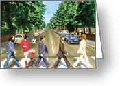George Harrison Painting Greeting Cards - El Beatle Greeting Card by John Hebb