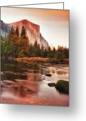 Sepia Greeting Cards - El Capitan And Lake At Sunset Greeting Card by Susan Gary