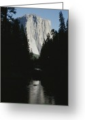 River Scenes Greeting Cards - El Capitan Soars Above The Merced River Greeting Card by Marc Moritsch
