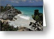 Surf Art Greeting Cards - El Castillo On A Cliff Overlooking Greeting Card by Raul Touzon