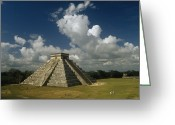 Pre Columbian Antiquities And Artifacts Greeting Cards - El Castillo Or The Temple Of Kukulcan Greeting Card by Martin Gray