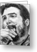 Sanchez Drawings Greeting Cards - El Che Greeting Card by Roberto Valdes Sanchez