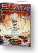 Waiter Greeting Cards - El Cocinero Greeting Card by Heather Calderon