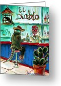 Crow Greeting Cards - El Diablo Greeting Card by Heather Calderon