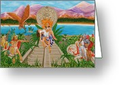 Evangelina Portillo Greeting Cards - El Encuentro Greeting Card by Evangelina Portillo