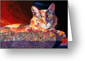 Abstract Realism Painting Greeting Cards - El Gato Sonata Greeting Card by Bob Coonts
