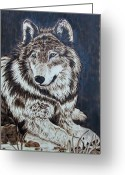 Wolves Pyrography Greeting Cards - El Lobo Greeting Card by Nedra  Denison