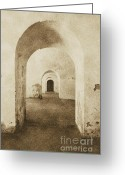 Puerto Rico Greeting Cards - El Morro Fort Barracks Arched Doorways Vertical San Juan Puerto Rico Prints Vintage Greeting Card by Shawn OBrien