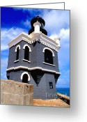 Light Gray Greeting Cards - El Morro Lighthouse Greeting Card by Carey Chen