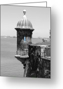Travelpixpro Greeting Cards - El Morro Sentry Tower Color Splash Black and White San Juan Puerto Rico Greeting Card by Shawn OBrien