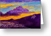 Night Scene Greeting Cards - El Pasos Star Greeting Card by Candy Mayer