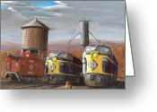 Trains Painting Greeting Cards - EL Power Greeting Card by Christopher Jenkins