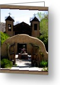 Taos Greeting Cards - El Santuario de Chimayo Greeting Card by Kurt Van Wagner
