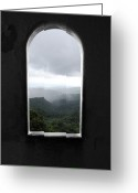 Travelpixpro Greeting Cards - El Yunque Cloudburst Color Splash Black and White Greeting Card by Shawn OBrien