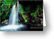 Lush Vegetation Greeting Cards - El Yunque Waterfall Greeting Card by Thomas R Fletcher