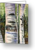Pine Trees Painting Greeting Cards - Elder Birch Greeting Card by Kristine Plum