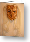 Carving Sculpture Greeting Cards - Elder Woman Greeting Card by Shane  Tweten