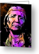 Native Portraits Greeting Cards - Elderly Hupa Woman Greeting Card by Paul Sachtleben