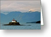 Skagway Greeting Cards - Eldred Rock Lighthouse Skagway Greeting Card by Michael Peychich