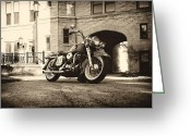 Chopper Greeting Cards - Electra Glide High Brow Greeting Card by Big Nick Solovey