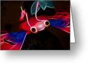 Laser Beam Greeting Cards - Electric Bug  Greeting Card by Mariola Bitner