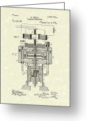 Tesla Greeting Cards - Electric Generator 1894 Patent Art Greeting Card by Prior Art Design