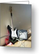 Amplifier Greeting Cards - Electric Guitar And Amplifier Greeting Card by Johnny Greig