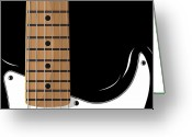 Rock And Roll Glass Greeting Cards - Electric Guitar Greeting Card by Michael Tompsett