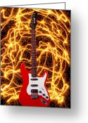 Electricity Greeting Cards - Electric guitar with sparks Greeting Card by Garry Gay