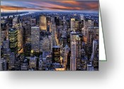 Kelley King Greeting Cards - Electric NYC Greeting Card by Kelley King