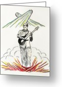 Stage Pastels Greeting Cards - Electric Power Greeting Card by Shana McCormick