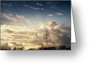 Sunset Photography Greeting Cards - Electric Pylon Greeting Card by Peter Chadwick LRPS