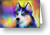 Commissioned Greeting Cards - Electric Siberian Husky dog painting Greeting Card by Svetlana Novikova