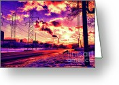 Buffalo New York Greeting Cards - Electric Skies Greeting Card by Chuck Alaimo