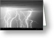 Lighning Greeting Cards - Electric Skies in Black and White Greeting Card by James Bo Insogna