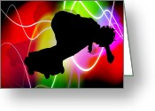 Skate Board Boarding Boarder Skateboarding Greeting Cards - Electric Spectrum Skater Greeting Card by Elaine Plesser