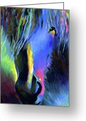 "\\\""texas Artist\\\\\\\"" Greeting Cards - electric Stallion horse painting Greeting Card by Svetlana Novikova"