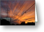 Ironman Greeting Cards - Electric Sunset Greeting Card by Nina Fosdick