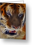 Digitally Enhanced Greeting Cards - Electric Tiger Greeting Card by Susan Candelario