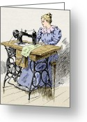 L.a. Woman Greeting Cards - Electrical Sewing Machine, 1900 Greeting Card by Sheila Terry