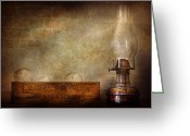 Oil Lamp Greeting Cards - Electrician - Advancements in lighting  Greeting Card by Mike Savad