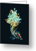 Surreal Tapestries Textiles Greeting Cards - ElectriciTree Greeting Card by Budi Satria Kwan