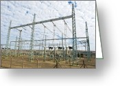 Northern Africa Greeting Cards - Electricity Substation Greeting Card by Peter Chadwick